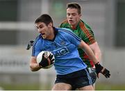 16 April 2016; Shane Clayton, Dublin, in action against Stephen Coen, Mayo. Eirgrid GAA Football Under 21 All-Ireland Championship semi-final, Dublin v Mayo. O'Connor Park, Tullamore, Co. Offaly.  Picture credit: Brendan Moran / SPORTSFILE