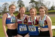 16 April 2016; The University of Limerick team who finished second in the Womens  4*400M final,Jenna Bromell, Katherine O'Keefe, Michelle Finn and Sinead Gaffney. Irish Universities Athletic Association Track & Field Championships 2016, Day 1. Morton Stadium, Santry, Co. Dublin. Picture credit: Oliver McVeigh / SPORTSFILE