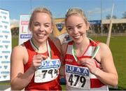 16 April 2016; Medal winning Sister different teams in the Ladies 4*400M final, Christine Neville, UCC, 1st,  and Jessica Neville, Cork IT, 3rd. Irish Universities Athletic Association Track & Field Championships 2016, Day 1. Morton Stadium, Santry, Co. Dublin. Picture credit: Oliver McVeigh / SPORTSFILE