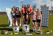 16 April 2016; Medal winning teams  in the Womens  4*400M final, University of Limerick, left, 2nd, UCC, centre, 1st and Cork IT, right, 3rd. Irish Universities Athletic Association Track & Field Championships 2016, Day 1. Morton Stadium, Santry, Co. Dublin. Picture credit: Oliver McVeigh / SPORTSFILE