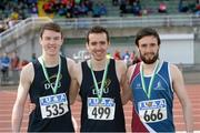 16 April 2016; Medal winners  in the Mens triple jump final, Oisin Taylor, DCU, 2nd, Conor Durnin, DCU,  1st and Conall Mahon, NUI Galway, 3rd. Irish Universities Athletic Association Track & Field Championships 2016, Day 1. Morton Stadium, Santry, Co. Dublin. Picture credit: Oliver McVeigh / SPORTSFILE