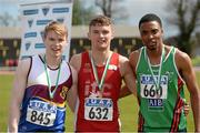 16 April 2016; Medal winners  in the Mens 200M final, Kieran Elliott, University of Limerick, 2nd, Marcus Lawler, IT Carlow, 1st and Christopher Sibanda, Limerick IT, 3rd. Irish Universities Athletic Association Track & Field Championships 2016, Day 1. Morton Stadium, Santry, Co. Dublin. Picture credit: Oliver McVeigh / SPORTSFILE