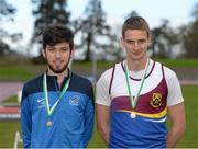 16 April 2016; Medal winners  in the Mens 1500M final, Kevin Kelly, DCU, 1st and Kevin Chesser, University of Limerick, 3rd. Irish Universities Athletic Association Track & Field Championships 2016, Day 1. Morton Stadium, Santry, Co. Dublin. Picture credit: Oliver McVeigh / SPORTSFILE