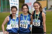 16 April 2016; Medal winners  in the Ladies 1500M walk final, Veronica Burke, Dublin IT, 2nd, Sinead O'Connor, Dublin IT, 1st and Siobhan Nash, DCU, 3rd. Irish Universities Athletic Association Track & Field Championships 2016, Day 1. Morton Stadium, Santry, Co. Dublin. Picture credit: Oliver McVeigh / SPORTSFILE