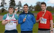 16 April 2016; Medal winners  in the Mens Discus final, Conal Campion, Trinity College Dublin, 2nd, Marco Pons, DCU, 1st and Michael Kenny, UCC, 3rd. Irish Universities Athletic Association Track & Field Championships 2016, Day 1. Morton Stadium, Santry, Co. Dublin. Picture credit: Oliver McVeigh / SPORTSFILE