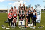 16 April 2016; Medal winning teams  in the Womens  4*100M final, UCC, left, 2nd, DCU, centre, 1st and University of Limerick, right, 3rd. Irish Universities Athletic Association Track & Field Championships 2016, Day 1. Morton Stadium, Santry, Co. Dublin. Picture credit: Oliver McVeigh / SPORTSFILE