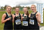 16 April 2016; The winning DCU team of the Womens  4*100M relay final, Katie Berney, Sarah Murray,  Bronwyn Keogh and Sarah McCarthy. Irish Universities Athletic Association Track & Field Championships 2016, Day 1. Morton Stadium, Santry, Co. Dublin. Picture credit: Oliver McVeigh / SPORTSFILE
