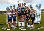 16 April 2016; Medal winning teams  in the Mens  4*100M relay final, University of Limerick, left, 2nd, Queens University Belfast, centre, 1st and DCU, right, 3rd. Irish Universities Athletic Association Track & Field Championships 2016, Day 1. Morton Stadium, Santry, Co. Dublin. Picture credit: Oliver McVeigh / SPORTSFILE