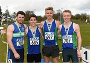 16 April 2016; The winning Queens University Belfast team of the Mens  4*100M final, Andrew Mellon, Jonathan Browning, Ben Maze, Gareth Thompson. Irish Universities Athletic Association Track & Field Championships 2016, Day 1. Morton Stadium, Santry, Co. Dublin. Picture credit: Oliver McVeigh / SPORTSFILE