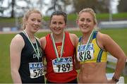 16 April 2016; Medal winners  in the Ladies 200M final, Sarah McCarthy, DCU, 2nd, Phil Healy, UCC, 1st and Sarah Lavin, UCD, 3rd. Irish Universities Athletic Association Track & Field Championships 2016, Day 1. Morton Stadium, Santry, Co. Dublin. Picture credit: Oliver McVeigh / SPORTSFILE