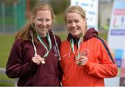 16 April 2016; Medal winners  in the Womens 1500M final, Katherine O'Keefe, University of Limerick, 2nd and Andrea Bickerdike, Cork IT, 1st . Irish Universities Athletic Association Track & Field Championships 2016, Day 1. Morton Stadium, Santry, Co. Dublin. Picture credit: Oliver McVeigh / SPORTSFILE