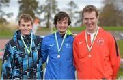 16 April 2016; Medal winners  in the Mens pole vault final, Simon Zieglar, University of Limerick, 2nd, Ian Rodgers, Athlone IT, 1st and Thomas Houlihan, Cork IT, 3rd. Irish Universities Athletic Association Track & Field Championships 2016, Day 1. Morton Stadium, Santry, Co. Dublin. Picture credit: Oliver McVeigh / SPORTSFILE