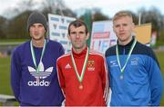 16 April 2016; Medal winners  in the Mens 3000M steeplechase final, Patrick Chesser, Limerick IT, 3rd, Brian Kirwan, IT Carlow, 1st and Michael Carey, DCU, 2nd. Irish Universities Athletic Association Track & Field Championships 2016, Day 1. Morton Stadium, Santry, Co. Dublin. Picture credit: Oliver McVeigh / SPORTSFILE