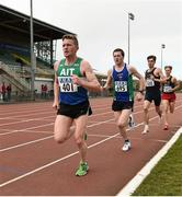 16 April 2016; Liam Brady, Athlone IT, out in front of Neil Johnston, Queens University, Belfast, during the Mens 5000M event. Irish Universities Athletic Association Track & Field Championships 2016, Day 1. Morton Stadium, Santry, Co. Dublin. Picture credit: Oliver McVeigh / SPORTSFILE