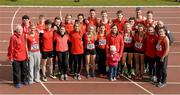 16 April 2016; The UCC squad. Irish Universities Athletic Association Track & Field Championships 2016, Day 1. Morton Stadium, Santry, Co. Dublin. Picture credit: Oliver McVeigh / SPORTSFILE