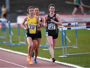 16 April 2016; Ellie Hartnett, UCD and Rachael Smyth, NUI Galway, leading the ladies 3000M event. Irish Universities Athletic Association Track & Field Championships 2016, Day 1. Morton Stadium, Santry, Co. Dublin. Picture credit: Oliver McVeigh / SPORTSFILE