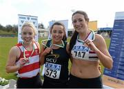 16 April 2016; Medal winners  in the Ladies 400M Hurdles final, Jessica Neville, Cork IT, 2nd, Kate MCGowan, DCU,  1st and Laura Frey, Trinity college Dublin, 3rd. Irish Universities Athletic Association Track & Field Championships 2016, Day 1. Morton Stadium, Santry, Co. Dublin. Picture credit: Oliver McVeigh / SPORTSFILE