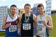 16 April 2016; Medal winners  in the Mens 400M Hurdles final, Paul Byrne, University of Limerick, 2nd, Evan McGuire, DCU, 1st and Eoin Power, DCU, 3rd. Irish Universities Athletic Association Track & Field Championships 2016, Day 1. Morton Stadium, Santry, Co. Dublin. Picture credit: Oliver McVeigh / SPORTSFILE