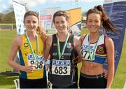 16 April 2016; Medal winners  in the Ladies 3000M final, Ellie Hartnett, UCD, 2nd, Rachael Smyth, NUI Maynooth,  1st and Grace Lynch, University of Limerick, 3rd. Irish Universities Athletic Association Track & Field Championships 2016, Day 1. Morton Stadium, Santry, Co. Dublin. Picture credit: Oliver McVeigh / SPORTSFILE