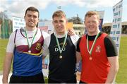 16 April 2016; Medal winners  in the Mens Hammer final, Killian Brady, University of Limerick, 2nd, Adam King, DCU,  1st and Simon Galligan, RCSI, 3rd. Irish Universities Athletic Association Track & Field Championships 2016, Day 1. Morton Stadium, Santry, Co. Dublin. Picture credit: Oliver McVeigh / SPORTSFILE