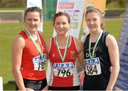 16 April 2016; Medal winners  in the Ladies 100M  final, Phil Healy, UCC, 2nd, Joan Healy, UCC, 1st and Sarah Murray, DCU, 3rd. Irish Universities Athletic Association Track & Field Championships 2016, Day 1. Morton Stadium, Santry, Co. Dublin. Picture credit: Oliver McVeigh / SPORTSFILE
