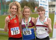 16 April 2016; Medal winners  in the Womens 3000M steeplechase final, Jessica Coyne, UCC, 2nd, Michelle Finn, University of Limerick, 1st and Claire McCarthy, Trinity College, Dublin, 3rd. Irish Universities Athletic Association Track & Field Championships 2016, Day 1. Morton Stadium, Santry, Co. Dublin. Picture credit: Oliver McVeigh / SPORTSFILE
