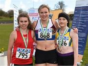 16 April 2016; Medal winners  in the Ladies 800M  final, Louise Shannon, UCC, 2nd, Jenna Bromell, University of Limerick, 1st and Alanna Lally, UCD, 3rd. Irish Universities Athletic Association Track & Field Championships 2016, Day 1. Morton Stadium, Santry, Co. Dublin. Picture credit: Oliver McVeigh / SPORTSFILE