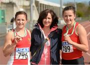 16 April 2016;  Medal winning sisters  in the Ladies 100M  final, Joan Healy, UCC, 1st, left, and Phil Healy, UCC, 2nd, right, along with mother Phil Healy, senior. Irish Universities Athletic Association Track & Field Championships 2016, Day 1. Morton Stadium, Santry, Co. Dublin. Picture credit: Oliver McVeigh / SPORTSFILE