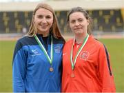 16 April 2016; Jennifer Murphy, DCU, winner of the Womens Javelin, left, and  Denise Byrne, Cork IT, 3rd. Irish Universities Athletic Association Track & Field Championships 2016, Day 1. Morton Stadium, Santry, Co. Dublin. Picture credit: Oliver McVeigh / SPORTSFILE