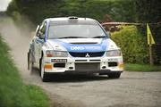 2 May 2010; Alistair Fisher and Rory Kennedy, in their Mitsubishi Evo 9, during the SS10 Currow Ross stage of the Rally of the Lakes - Second Leg. Killarney, Co. Kerry. Picture credit: Barry Cregg / SPORTSFILE