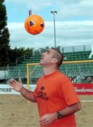 2 June 2001; Eric Cantona who will play in the Budweiser Beach Festival  at Wanderers RFC,  Merrion Road, Dublin. 450 tonnes of soft sand will create a 27 x 38 metre beach in one of Dublin's best known rugby clubs, as Budweiser plays host to Ireland's first ever European Professional Beach Soccer and Rugby Tournament. Picture credit; Shane O' Neill / SPORTSFILE.  Supplied by; SHANE O' NEILL, JASON CLARKE PHOTOGRAPHY