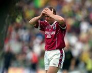 3 June 2001; Ger Heavin, Westmeath holds his head after defeat by Meath. Meath v Westmeath, Leinster Senior Football Championship, Croke Park, Dublin. Picture credit; David Maher / SPORTSFILE