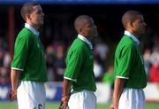 1 June 2001; Republic of Ireland U-21's Clinton Morrison, centre, with team-mates John O'Shea, left, and Stephen Reid. Soccer. Picture credit; Brian Lawless / SPORTSFILE