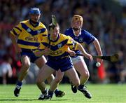 3 June 2001; Clare's James O'Connor in action against Tipperary's Eamonn Corcoran. Tipperary v Clare, Munster Hurling Championship, Pairc Ui Chaoimh, Cork. Picture credit; Brendan Moran / SPORTSFILE