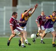 9 June 2001; Westmeath's Ger Heavin kicks the equalising point during injury time of normal time to send the game into extra time. All-Ireland Football Championship Qualifier, Round 1, Wexford Park, Wexford. Picture credit; Brendan Moran / SPORTSFILE