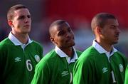 1 June 2001; Clinton Morrison centre, among team-mates John O'Shea (6) and Stephen Reid, Republic of Ireland. Soccer. Picture credit; Damien Eagers / SPORTSFILE
