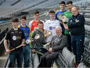 19 April 2016; Uachtarán Chumann Lúthchleas Gael Aogán Ó Fearghail, Clare hurler Patrick Kelly and Waterford hurling manager Derek McGrath joined players including, from left, Rory McHugh, Sligo, Evan Murphy, Longford, Emmett Allen, Dublin, Lee Gannon, Dublin, Gary O'Rourke, Cavan, and Lee McManus, Leitrim, in attendance at the launch of the Celtic Challenge 2016. Croke Park, Dublin. Picture credit: Cody Glenn / SPORTSFILE