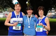 17 April 2016; Second place finishers in the Master Women's over 50 relay race, from left, Gloria Donaghy, Kay Byrne and Noreen Bonner, Finn Valley AC, Co. Donegal. The GloHealth AAI National Road Relays. Raheny, Dublin. Picture credit : Tomás Greally /  SPORTSFILE