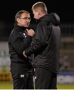 22 April 2016; Shamrock Rovers manager Pat Fenlon and Dundalk manager Stephen Kenny after the final whistle. SSE Airtricity League, Premier Division, Shamrock Rovers v Dundalk. Tallaght Stadium, Tallaght, Co. Dublin. Picture credit: David Maher / SPORTSFILE