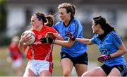 23 April 2016; Annie Walsh, Cork, is tackled by Lucy Collins, supported by Olwen Carey, Dublin. Lidl Ladies Football National League, Division 1, semi-final, Cork v Dublin. St Brendan's Park, Birr, Co. Offaly. Picture credit: Ramsey Cardy / SPORTSFILE