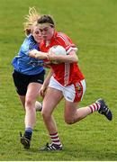 23 April 2016; Hannah Looney, Cork, is tackled by Amy Connolly, Dublin. Lidl Ladies Football National League, Division 1, semi-final, Cork v Dublin. St Brendan's Park, Birr, Co. Offaly. Picture credit: Ramsey Cardy / SPORTSFILE