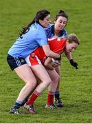 23 April 2016; Vera Foley, Cork, is tackled by Olwen Carey, left, and Niamh Ryan, Dublin. Lidl Ladies Football National League, Division 1, semi-final, Cork v Dublin. St Brendan's Park, Birr, Co. Offaly. Picture credit: Ramsey Cardy / SPORTSFILE