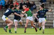 23 April 2016; Niamh Kelly, Mayo, is tackled by Lorraine Scanlon, left, Aisling Leonard, centre, and Aisling O'Connell, Kerry. Lidl Ladies Football National League, Division 1, semi-final, Mayo v Kerry. St Brendan's Park, Birr, Co. Offaly. Picture credit: Ramsey Cardy / SPORTSFILE