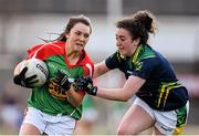 23 April 2016; Niamh Kelly, Mayo, is tackled by Aisling O'Connell, Kerry. Lidl Ladies Football National League, Division 1, semi-final, Mayo v Kerry. St Brendan's Park, Birr, Co. Offaly. Picture credit: Ramsey Cardy / SPORTSFILE