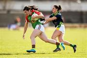 23 April 2016; Rachel Kearns, Mayo, is tackled by Cassandra Buckley, Kerry. Lidl Ladies Football National League, Division 1, semi-final, Mayo v Kerry. St Brendan's Park, Birr, Co. Offaly. Picture credit: Ramsey Cardy / SPORTSFILE