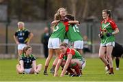 23 April 2016; Mayo players celebrate their side's victory at the final whistle. Lidl Ladies Football National League, Division 1, semi-final, Mayo v Kerry. St Brendan's Park, Birr, Co. Offaly. Picture credit: Ramsey Cardy / SPORTSFILE