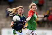 23 April 2016; Amanda Brosnan, Kerry, is tackled by Nicola O'Malley, Mayo. Lidl Ladies Football National League, Division 1, semi-final, Mayo v Kerry. St Brendan's Park, Birr, Co. Offaly. Picture credit: Ramsey Cardy / SPORTSFILE