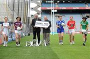 4 May 2010; Captain's from teams competing in the Bord Gáis Energy NFL Divisions finals gathered in Croke Park ahead of the finals Park in Parnell Park on Saturday. Pictured are, from left to right, Kildare's Aisling Holton, Galway's Emer Flaherty, Cavan's Pamela Crowe, Cork's Rena Buckley and Donegal's Aoife McDonald with Ger Cunningham, Bord Gáis Energy Sport Sponsorship Manager, and Ladies Gaelic Football Association President Pat Quill, right. Croke Park, Dublin. Picture credit: Paul Mohan / SPORTSFILE E
