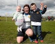 23 April 2016; Miriam Holt, Edenderry, celebrates with Bonnie Mulligan, age 5 months, and Fionn Mulligan, age 5, after the game. Bank of Ireland Leinster Women's Paul Flood Cup Final, Tullamore v Edenderry. Cill Dara RFC, Kildare. Picture credit: Sam Barnes / SPORTSFILE
