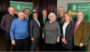23 April 2016; Athletics Association of Ireland board, from left to right, John McGrath, Jim Ryan, George Maybury, Neil Martin, John Cronin, Eamonn Harvey, Brid Golden and Cyril Smyth with newly elected president Georgina Drumm following the Athletics Association of Ireland Congress 2016. Tullamore Court Hotel, Tullamore, Co. Offaly. Picture credit: Seb Daly / SPORTSFILE